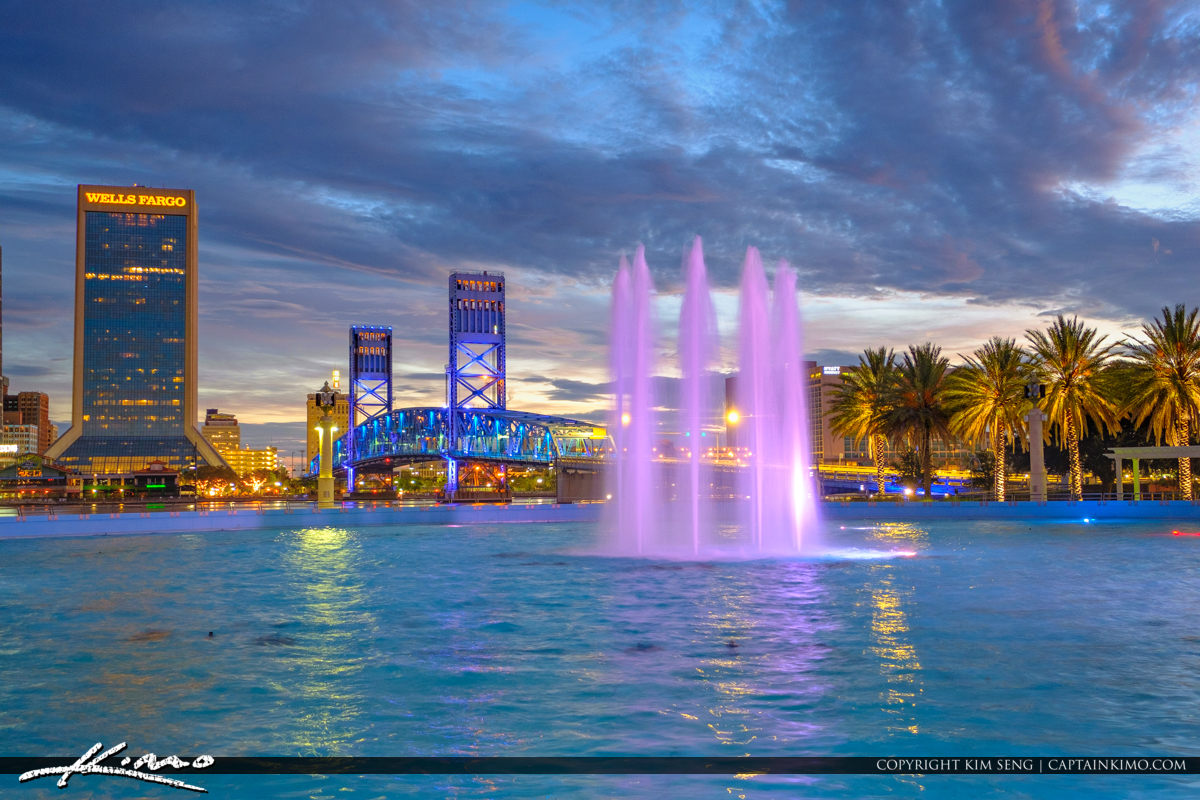 Friendship Park Fountain at Night in Downtown Jacksonville