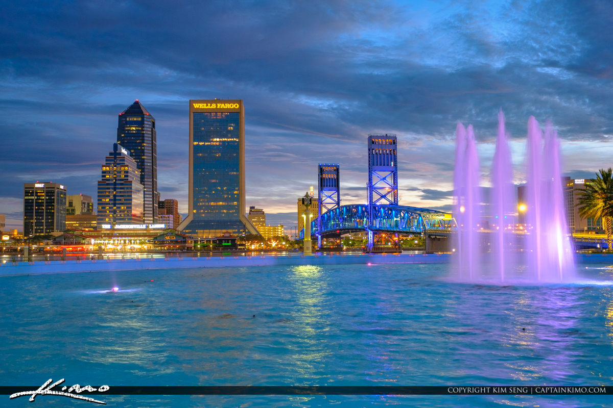 Beautiful Night at the Downtown Jacksonville with Fountain and Jacksonville View