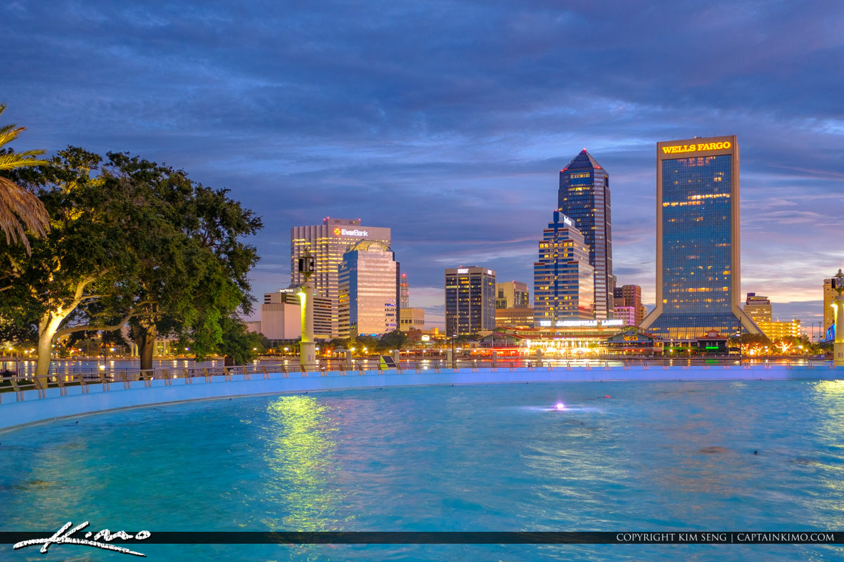 Friendship Fountain at Night Downtown Jacksonville Skyline View