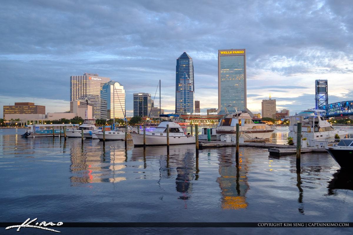 Jacksonville Marina and Skyline View Florida