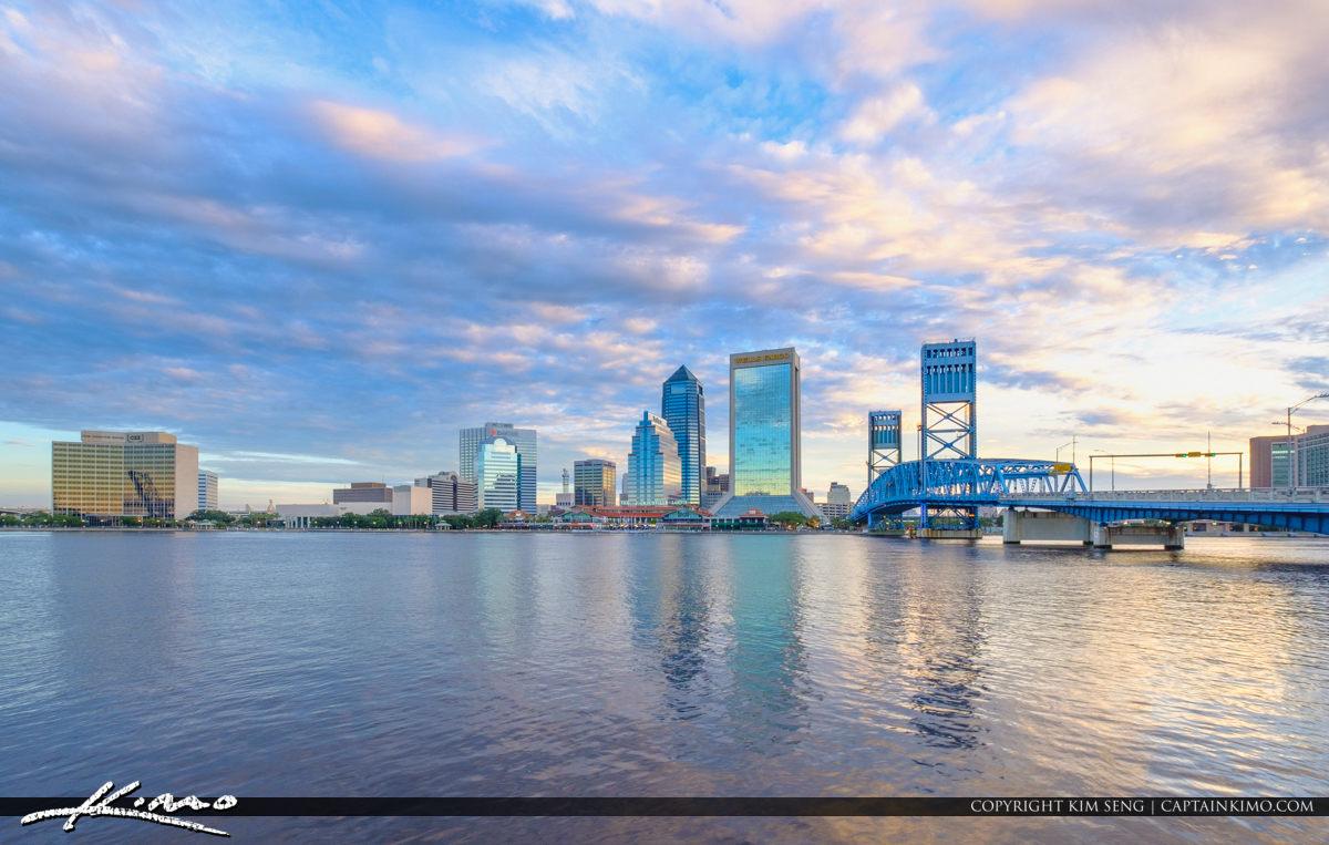 Riverwalk St Johns River Jacksonville Skyline Cloudy Florida Day