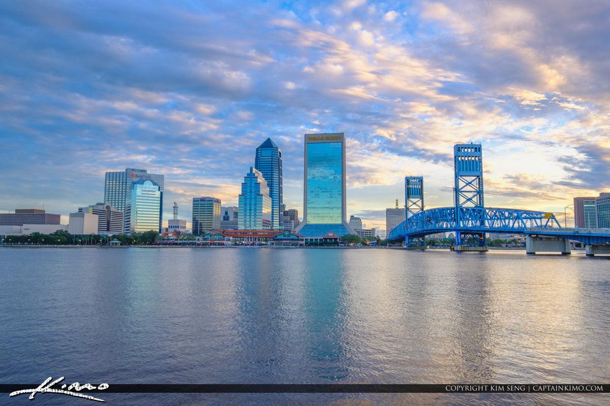 Skyline Reflection Riverwalk St Johns River Jacksonville Florida
