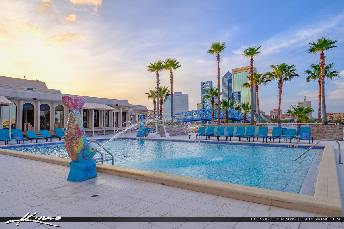 Statue at Pool Downtown Skyline at Double Tree Hotel Jacksonville Florida
