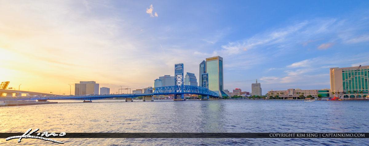 Wide Skyline Southbank Riverwalk along St Johns River Jacksonville Florida