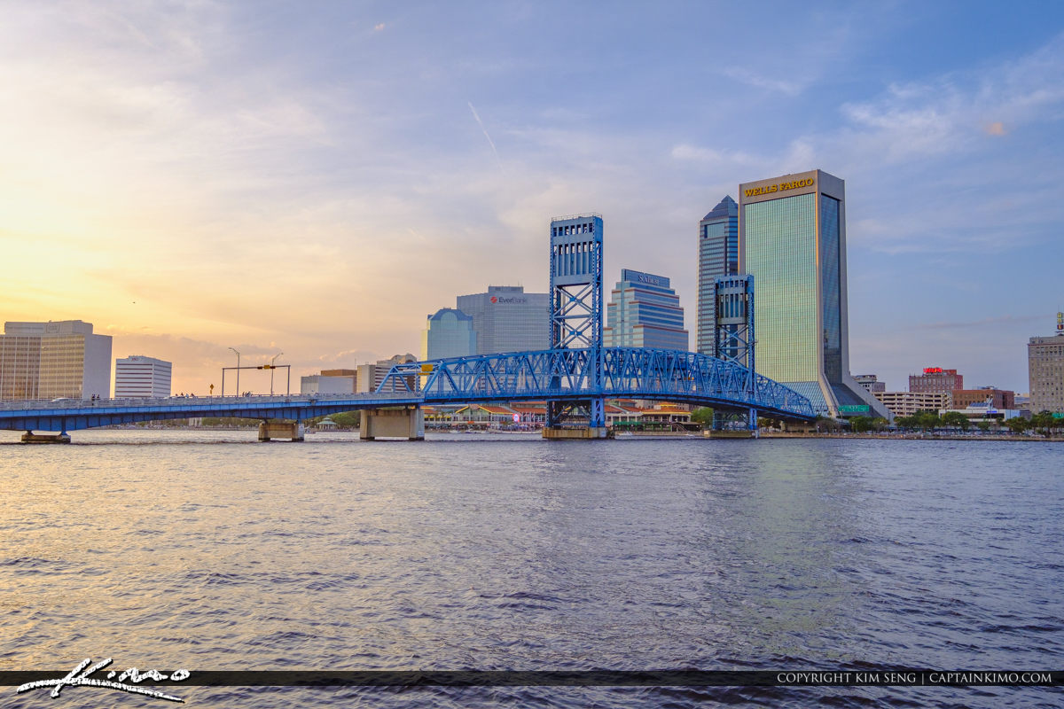Skyline Southbank Riverwalk along St Johns River Jacksonville Florida