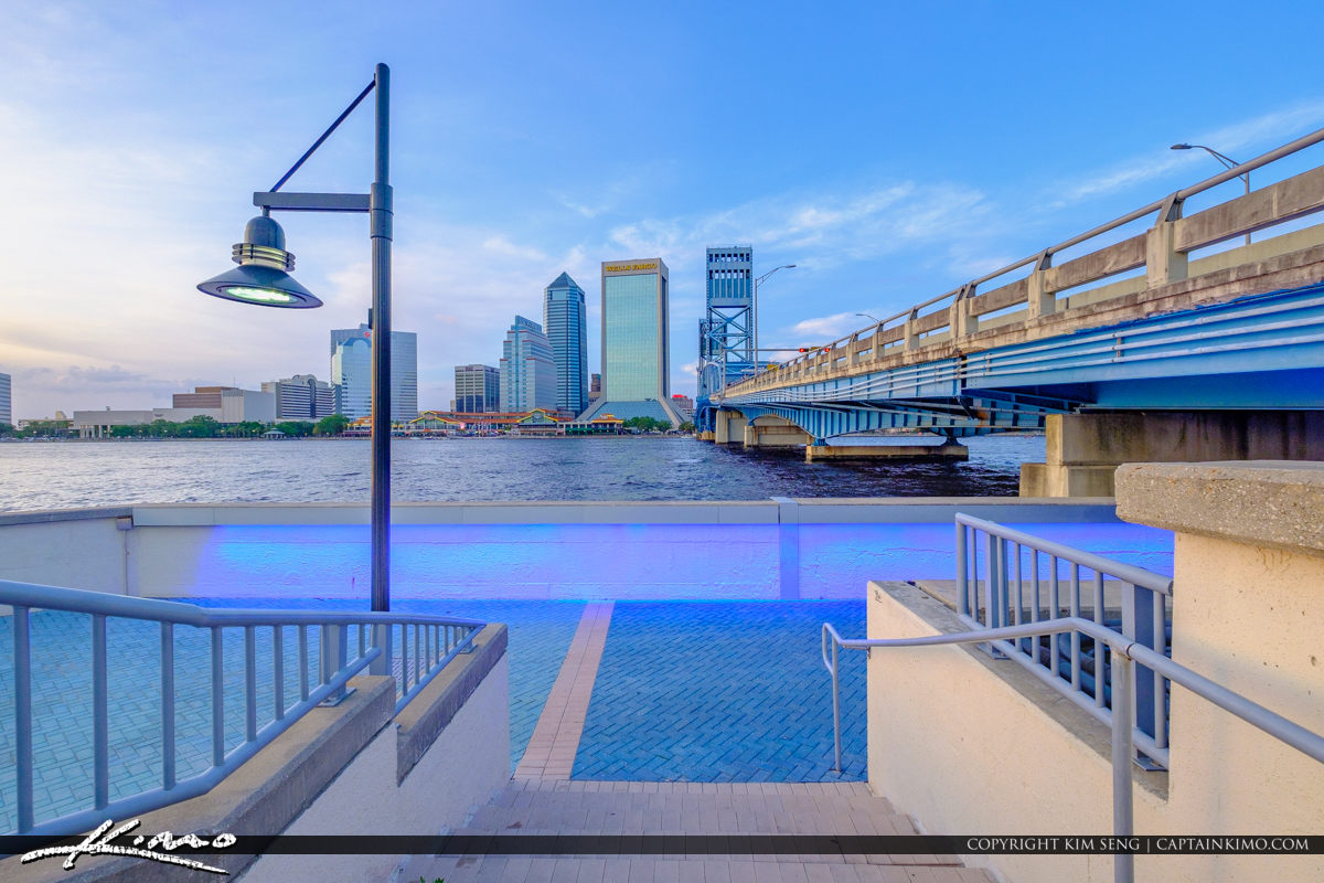 Southbank Riverwalk along St Johns River Jacksonville Florida