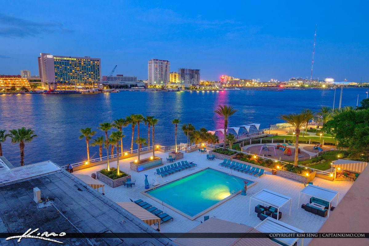 Skyline View Double Tree Hotel Pool at Night Jacksonville Florida