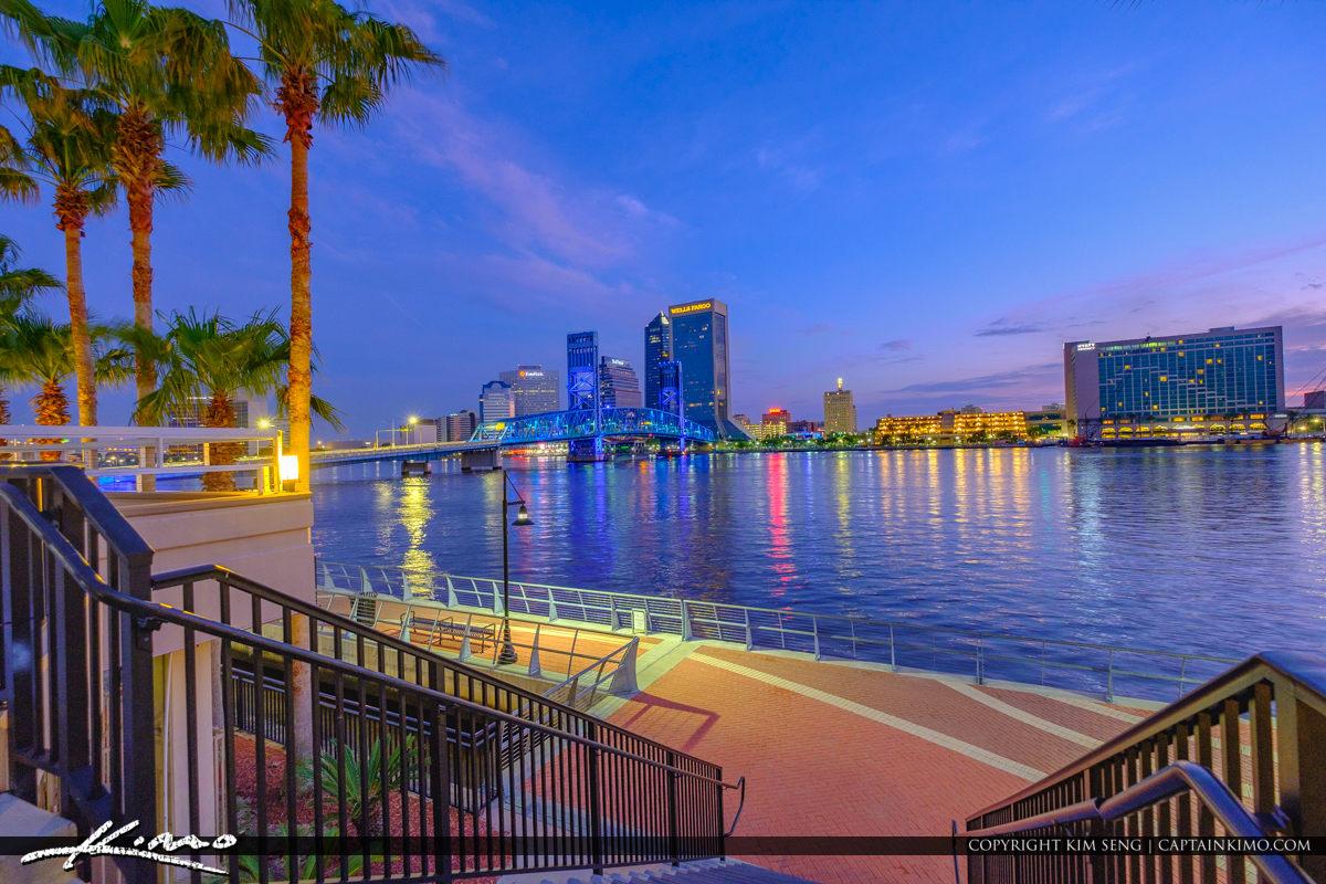 Night Fall taking a Walk Along the Southbank Riverwalk in Jacksonville Florida
