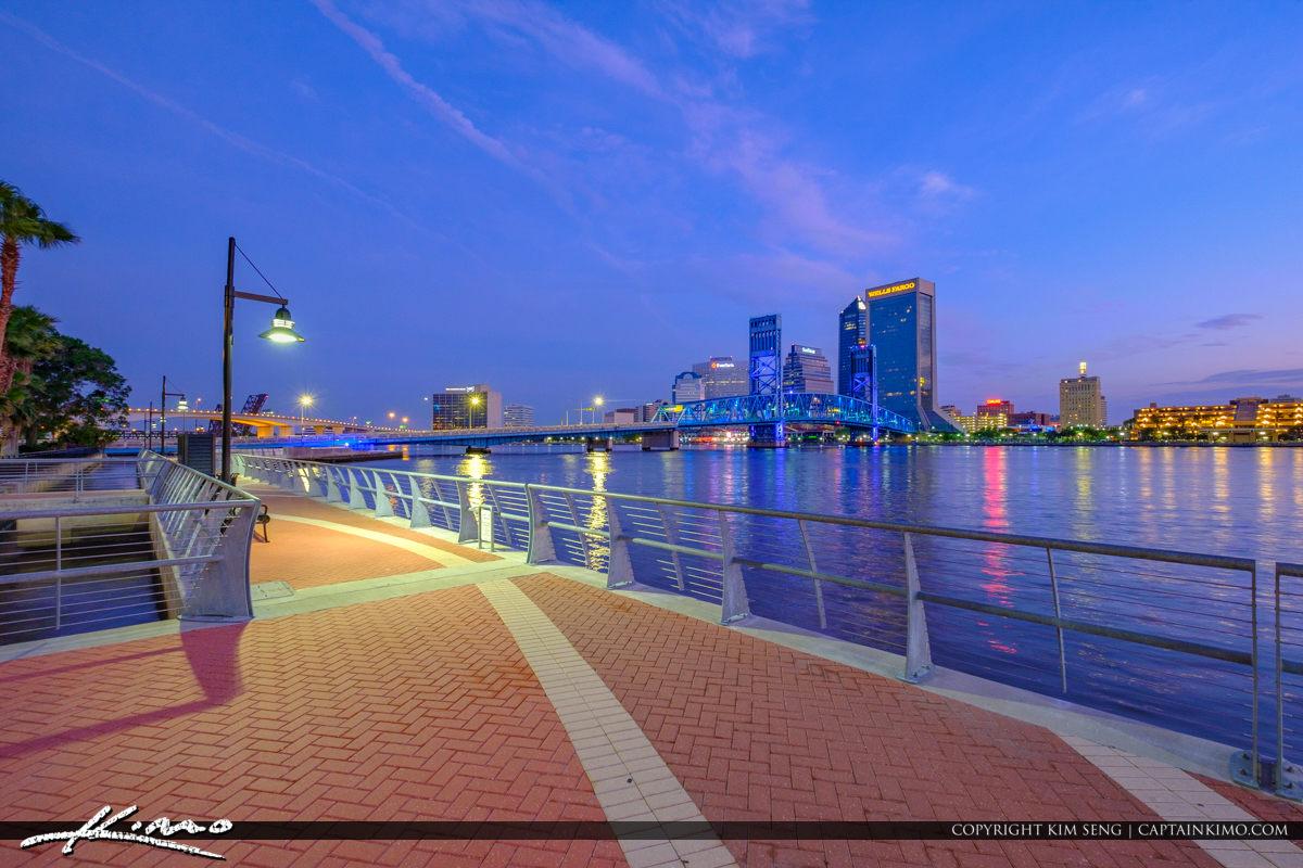 Southbank Riverwalk Nighttime Stroll Jacksonville Skyline Riverwalk Downtown St Johns River