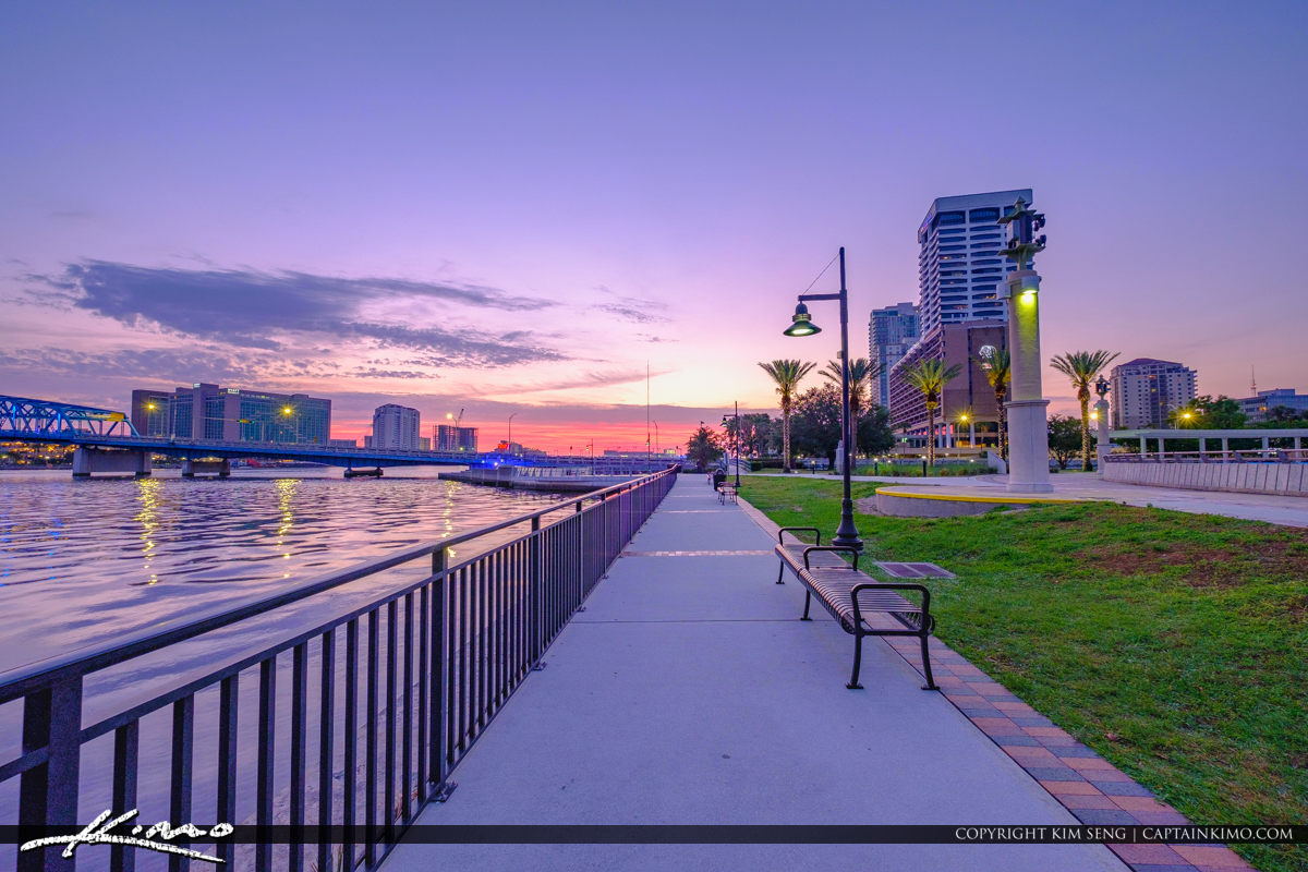St Johns River along the Southbank Riverwalk in Downtown Jacksonville