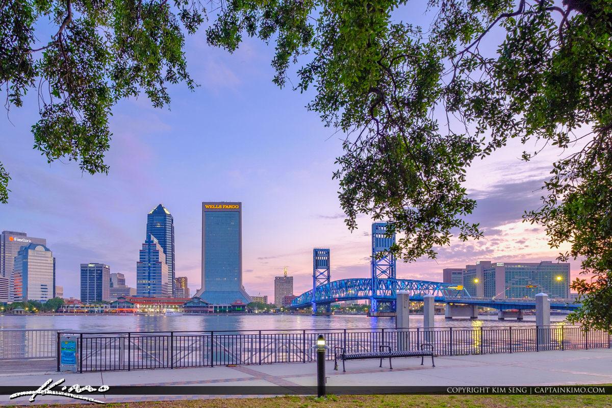 Jacksonville Skyline View from Friendship Park Along the St Johns River