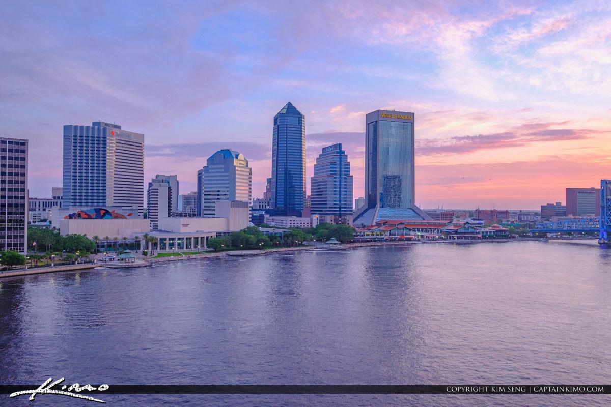 Jacksonville Skyline View from Acosta Bridge Florida