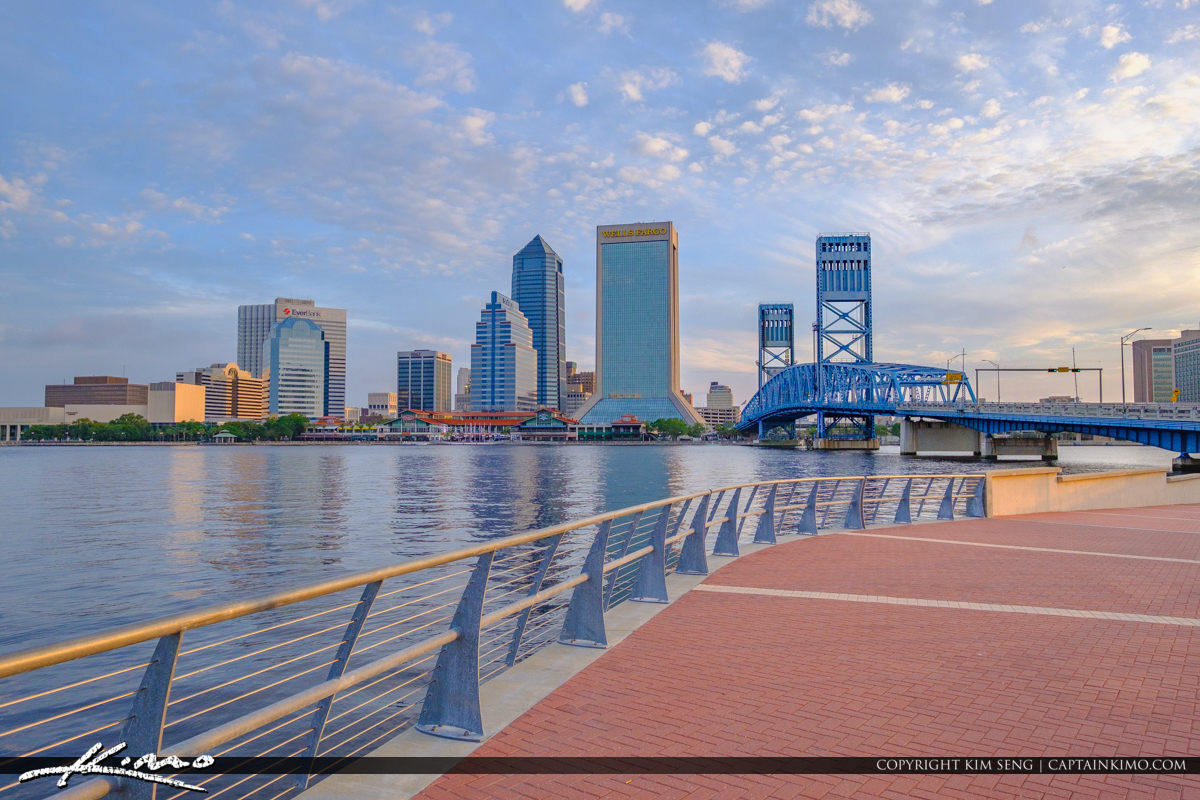 Jacksonville Riverwalk Skyline View by Main Street Bridge
