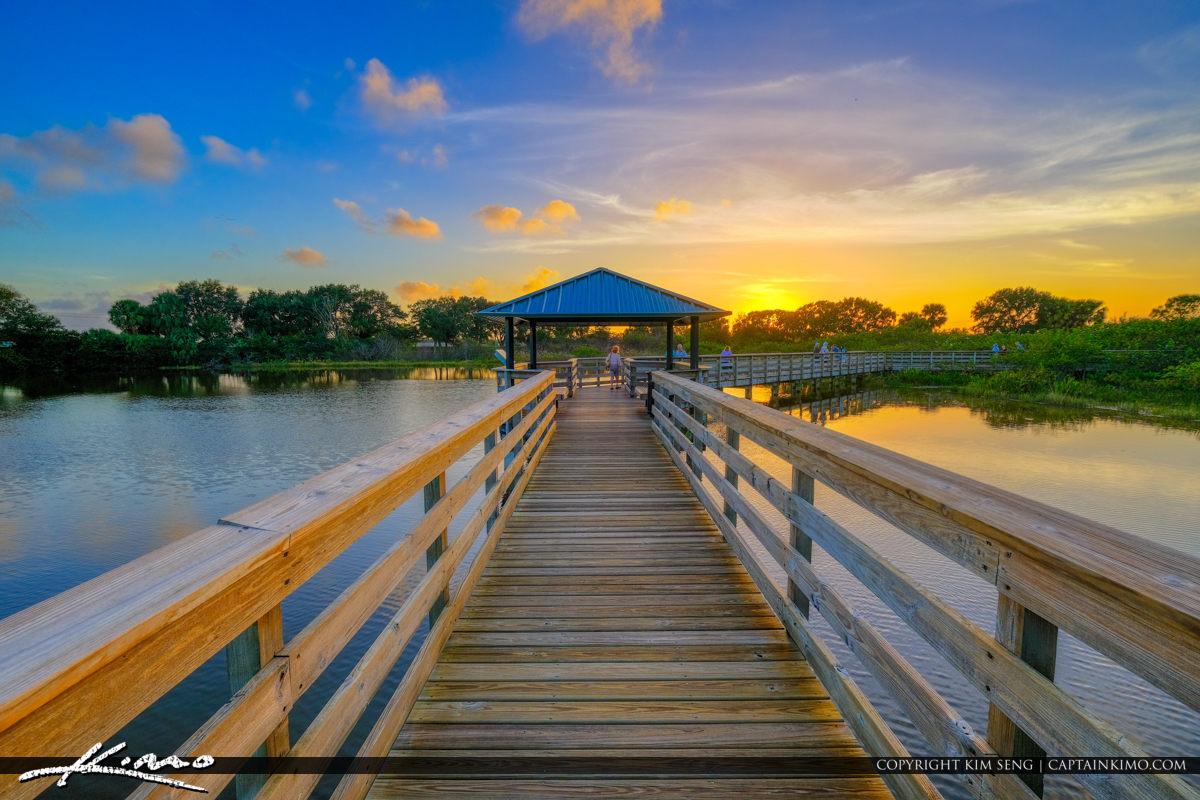 Wakodahatchee Wetlands Boardwalk in Delray Beach During Sunset