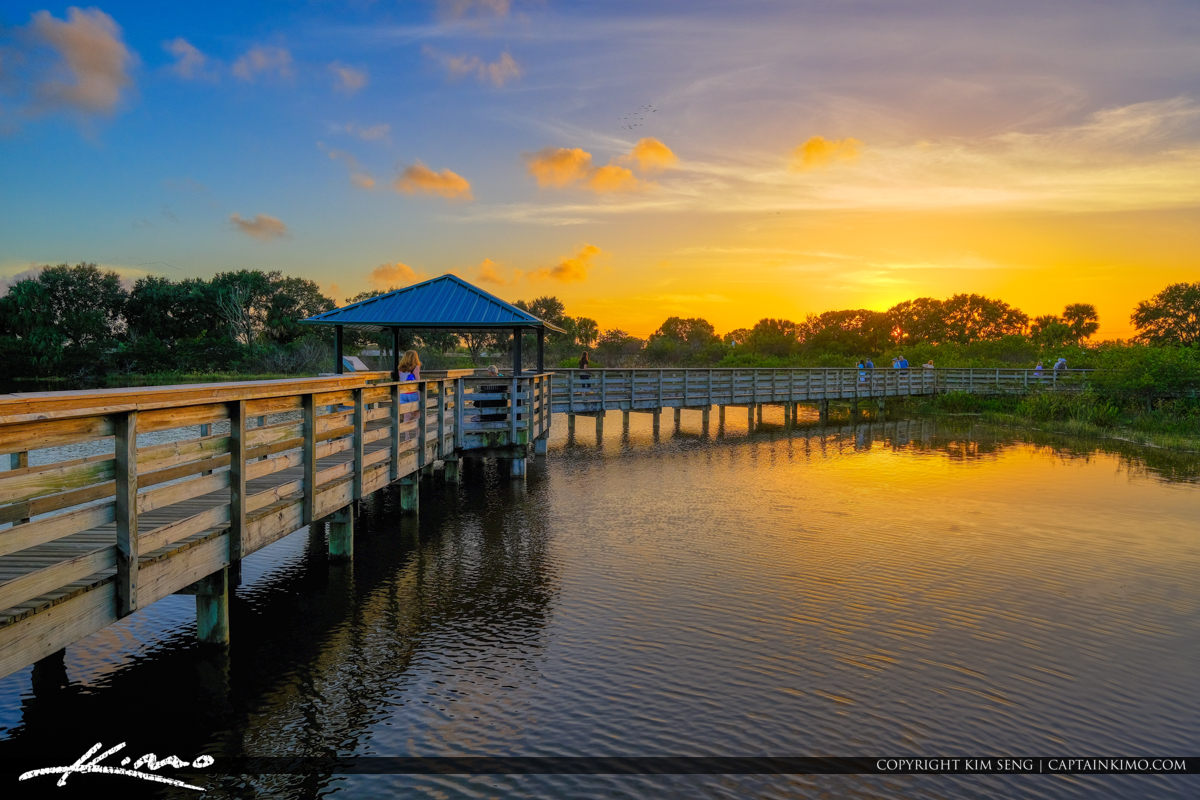 Sunset at Long Boardwalk Over Wakodahatchee Wetlands Delray Beach