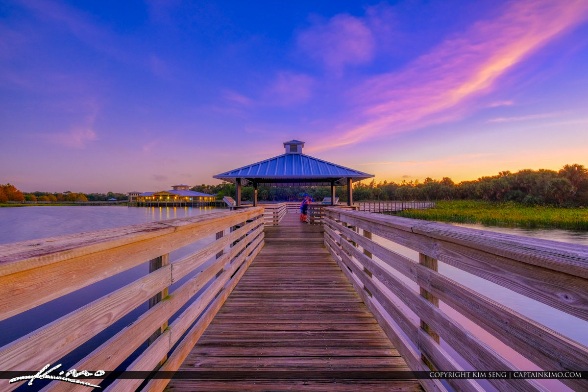 Boardwalk with Purple Sunset Green Cay Wetlands Boynton Beach Florida