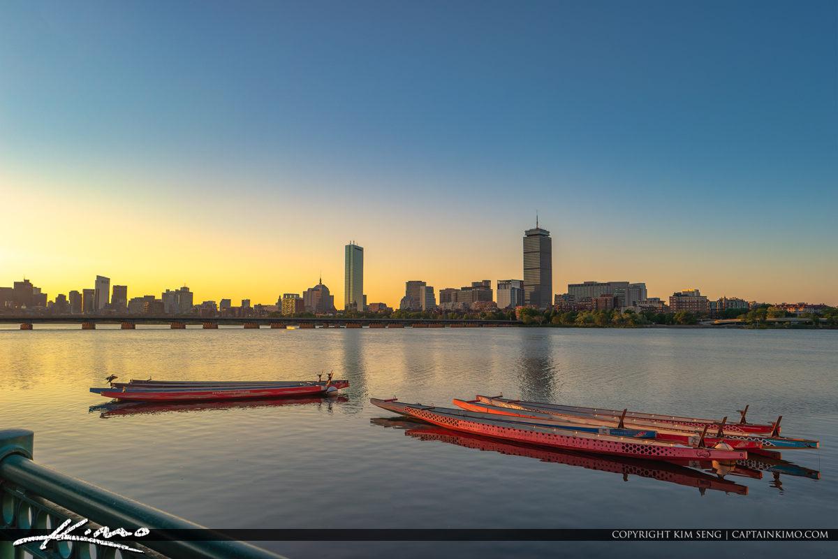 Charles River Rowing Boat City Skyline Harvard Bridge Boston Mas