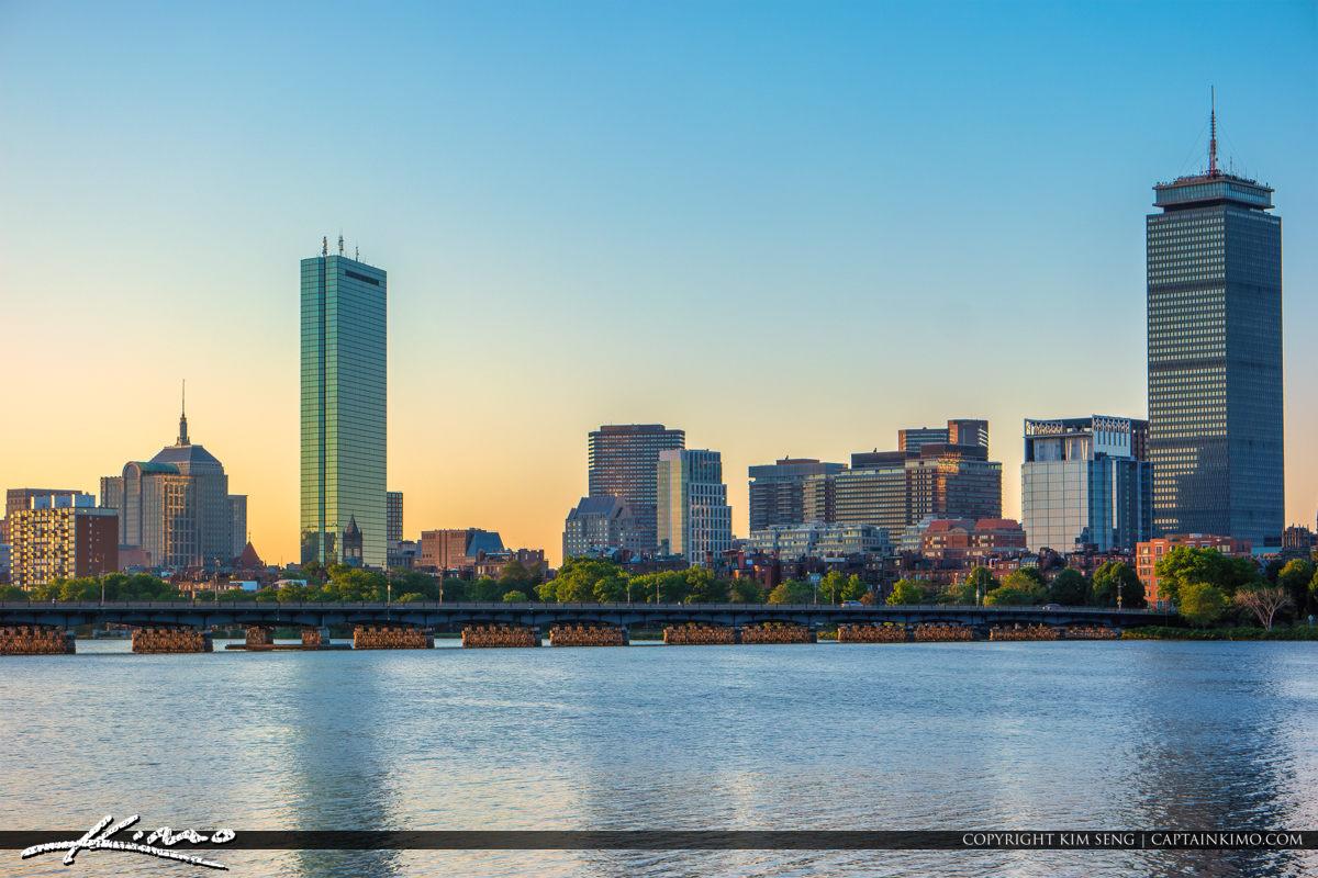 Boston Skyline Harvard Bridge Boston Massachusetts