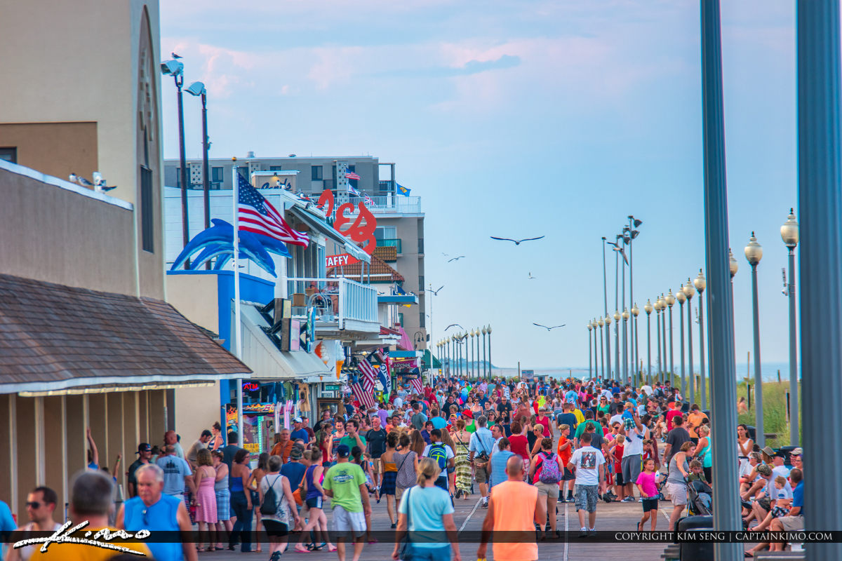 People on Boardwalk Rehoboth Beach Delaware