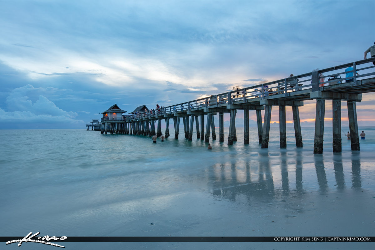Naples Beach Pier Sunset Gloomy Clouds