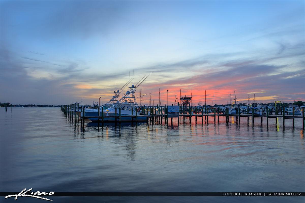 Stuart Florida Marina Sunset with Boats