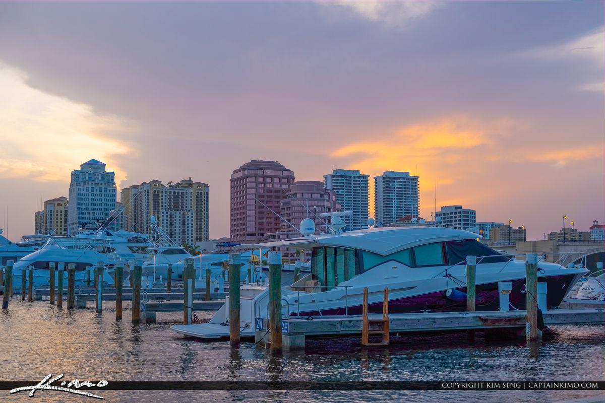 West Palm Beach Skyline Marina Sunset