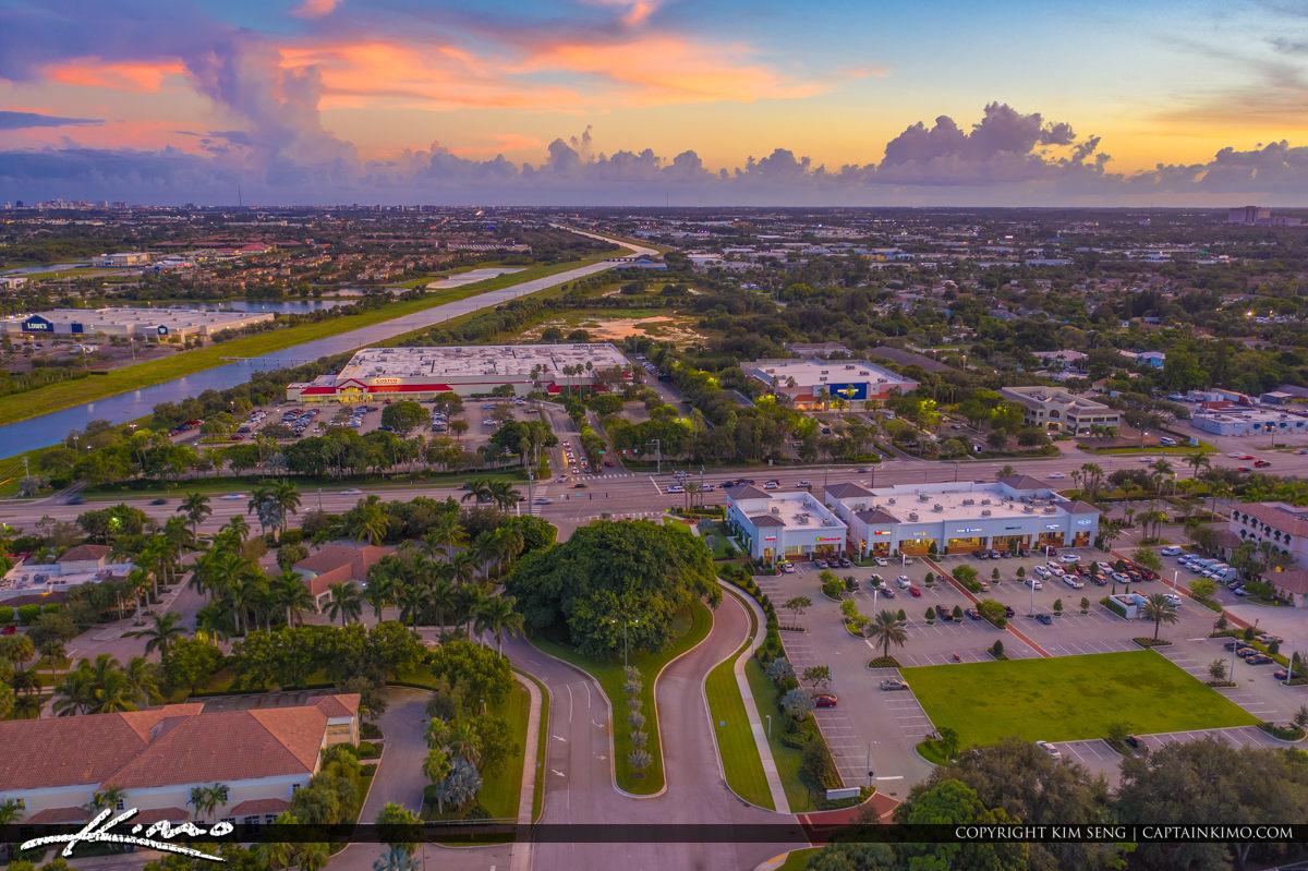 Palm Beach Gardens Aerial Sunset Lake Catherine