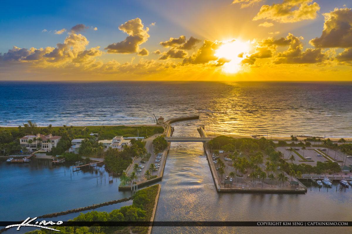 Boynton Beach Florida Inlet Aerial Waterway Sunrise