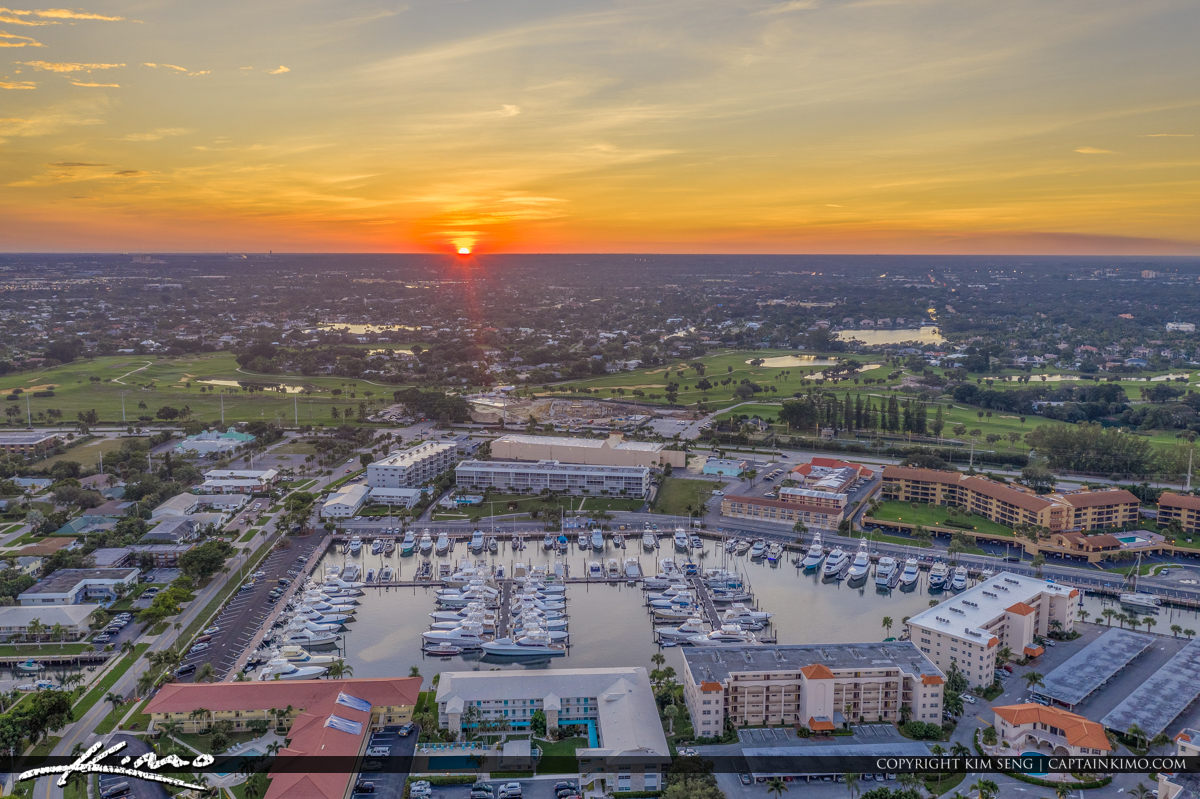 Sunset Nateral View of Old Port Cove Marina Florida
