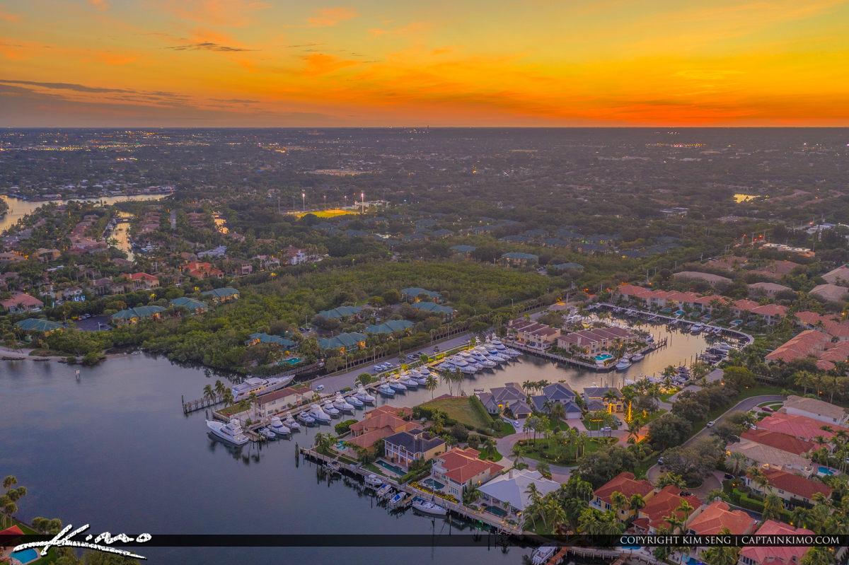 Sunset Dark yellow Background of Lake Worth Lagoon Florida