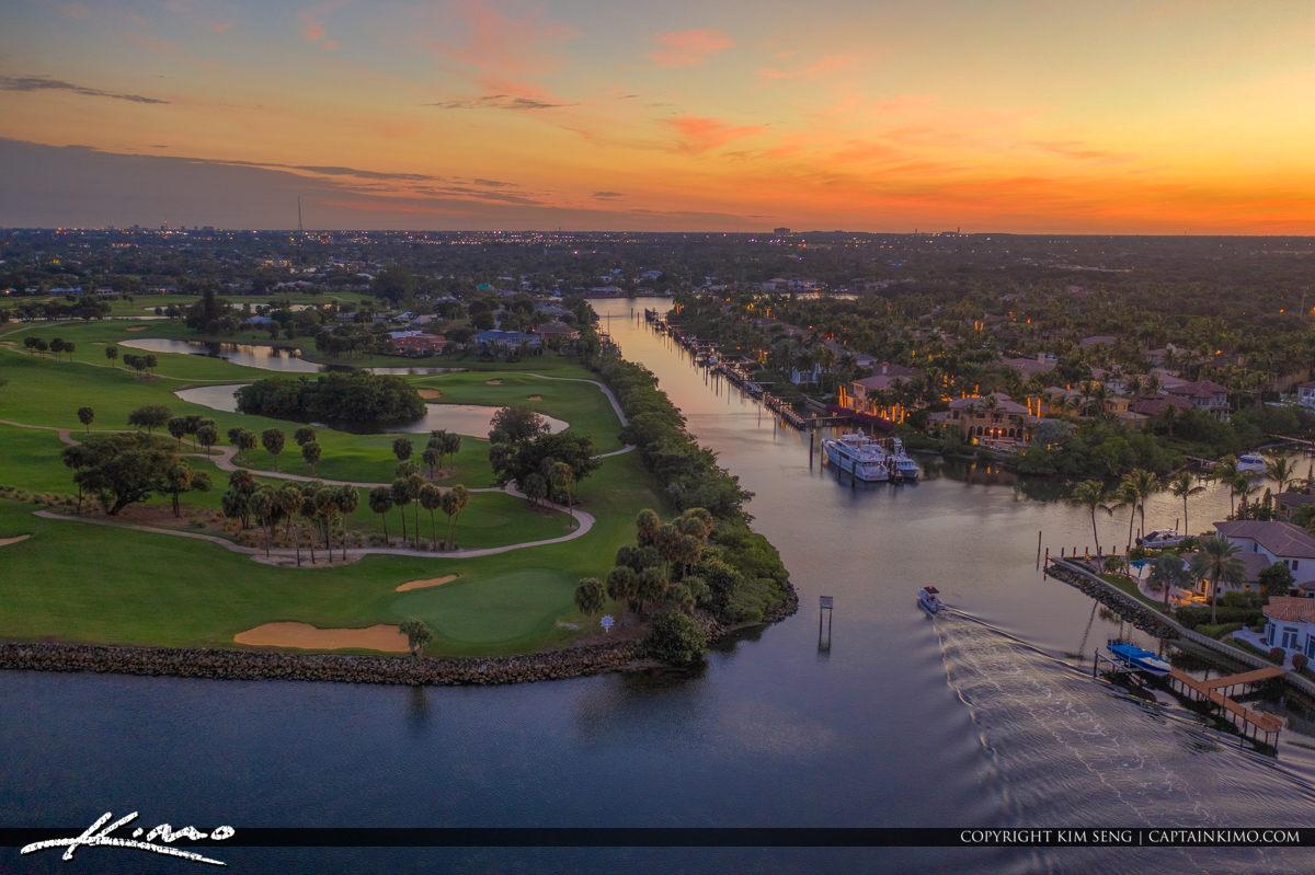North Palm Beach Golf Course Waterway Sunset Florida