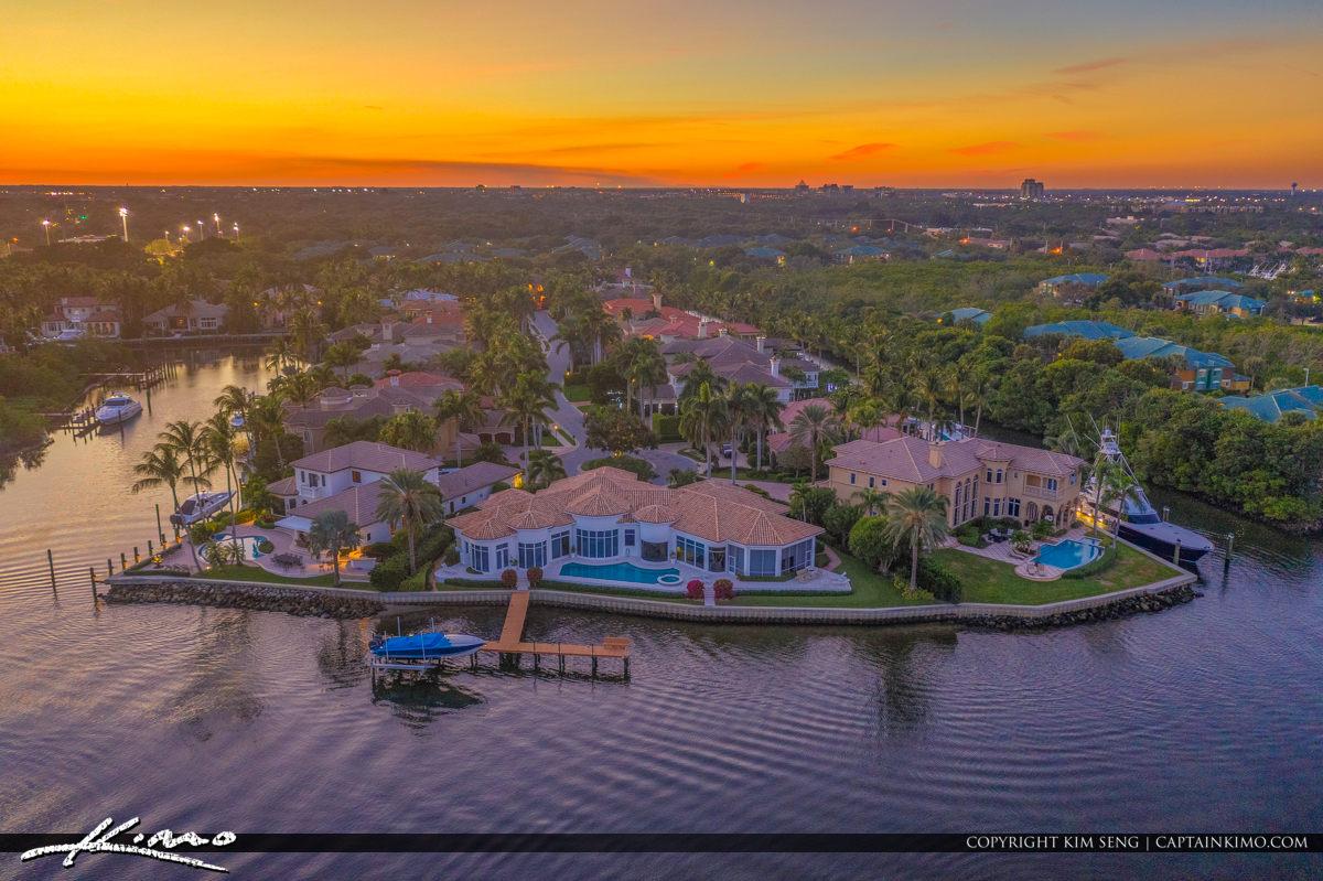Amazing Sunset View Waterway at Palm Beach Florida