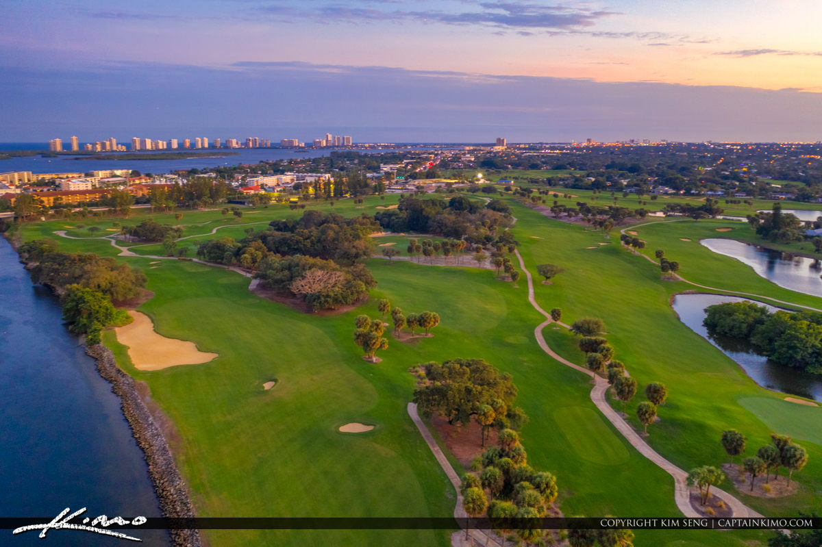 Sunset North Palm Beach Golf Course With Blue Sky Florida