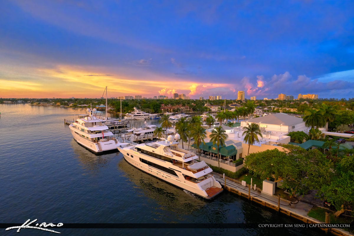 Luxury Yacht at Pier Sixty-Six Marina Fort Lauderdale Florida Sunset