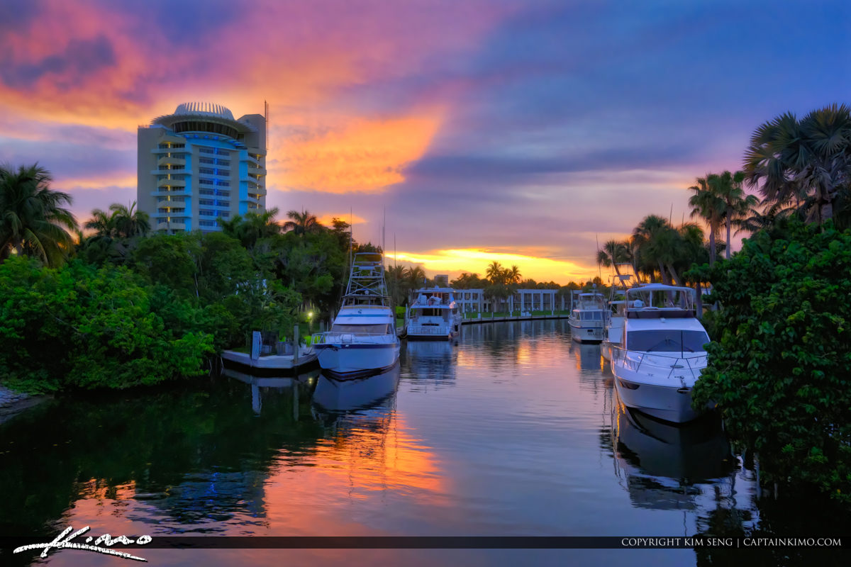 Waterfront Property Boats Fort Lauderdale Florida Sunset