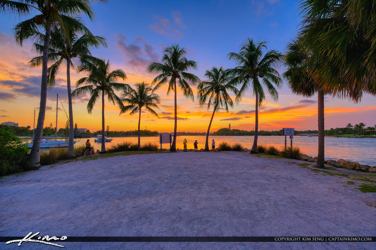 Epic Warm Sunset Coconut Trees Dubois Park in Jupiter Florida