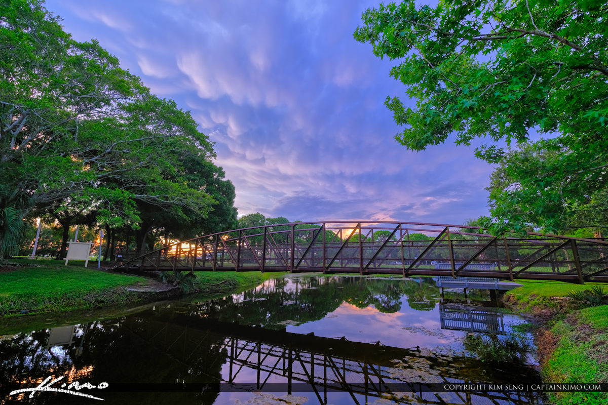 Indian Creek Park Bridge Purple Reflection Jupiter Florida