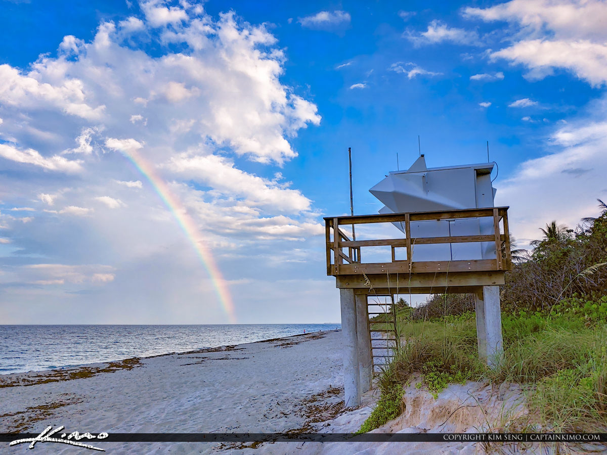 Carlin Park Lifeguard Tower Rainbow at Beach