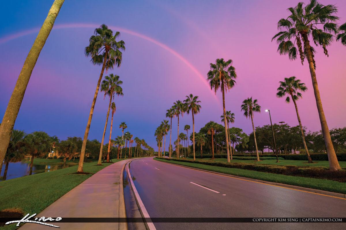 Rainbow Over Gardens Parkway Palm Trees PBG Florida