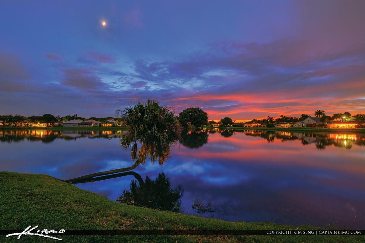 Cresent Moon Setting Over Lake Catherine Floirda Sunset