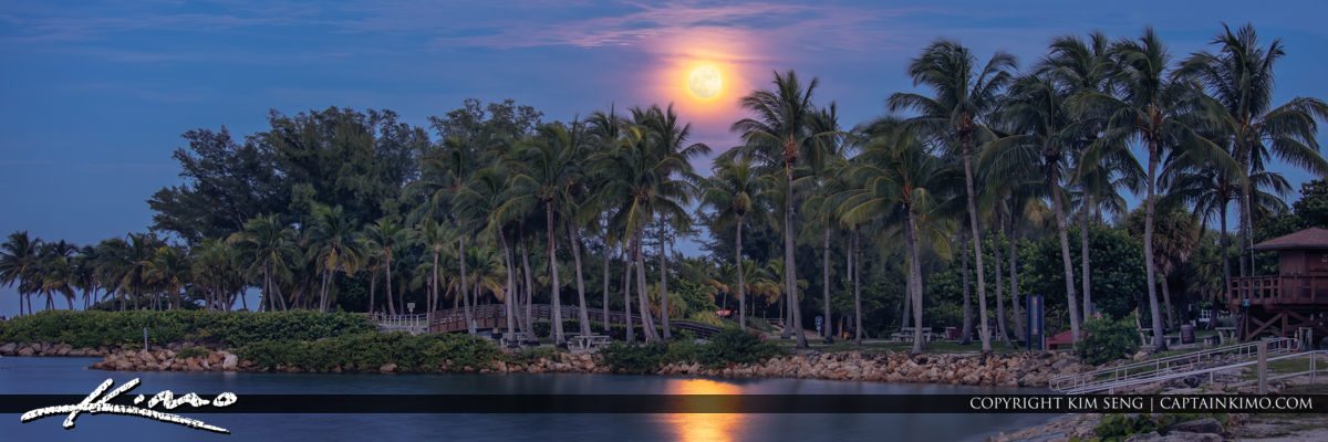 Dubois Park Moonrise Jupiter Florida Panorama