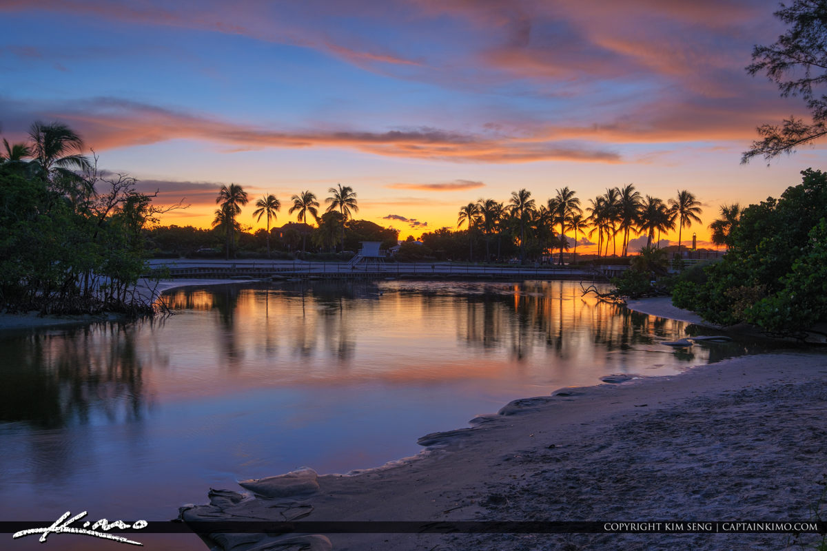 Sunset Colors Jupiter Lighthouse at Dubois Lagoon