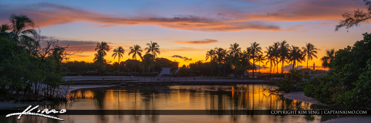Sunset Colors Jupiter Lighthouse at Dubois Lagoon Panorama