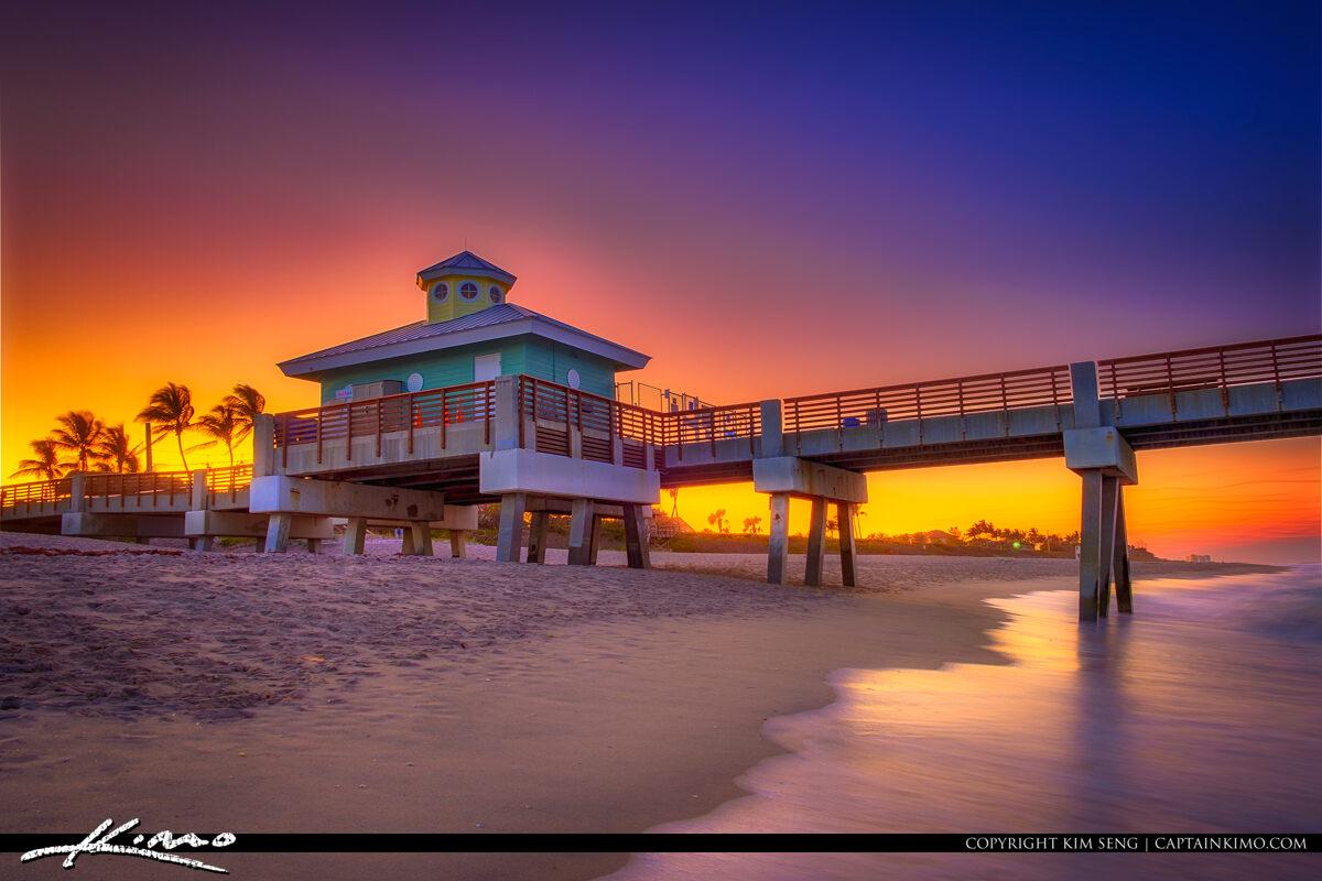 Juno Beach Pier Sunset from Beach