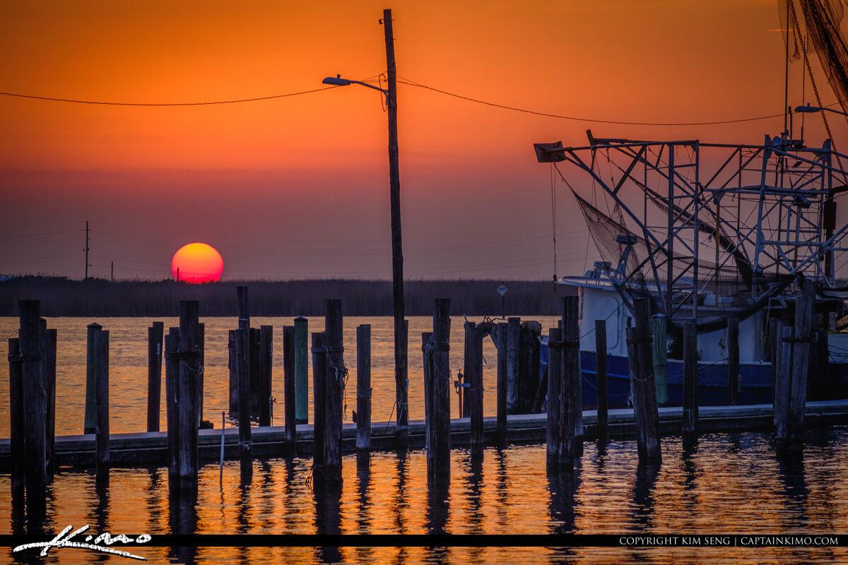 Cajun Sunset down at the Bayou Buras Boat Harbour Louisiana