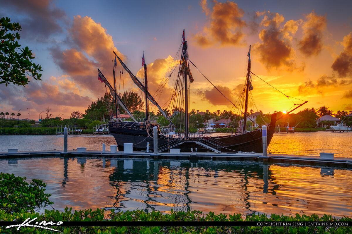 Columbus Ship Sunset Harbourside Place Jupiter Florida