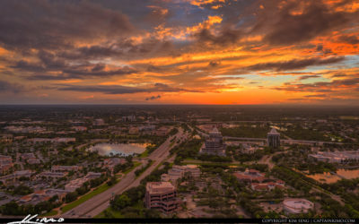 Palm Beach Gardens Sunset PGA Boulevard Aerial
