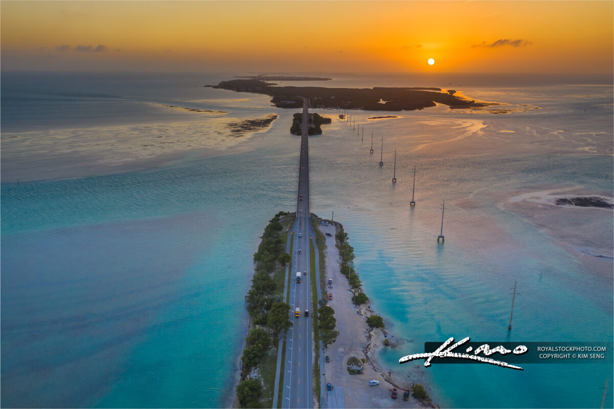 Islamorada Florida Sunset Aerial