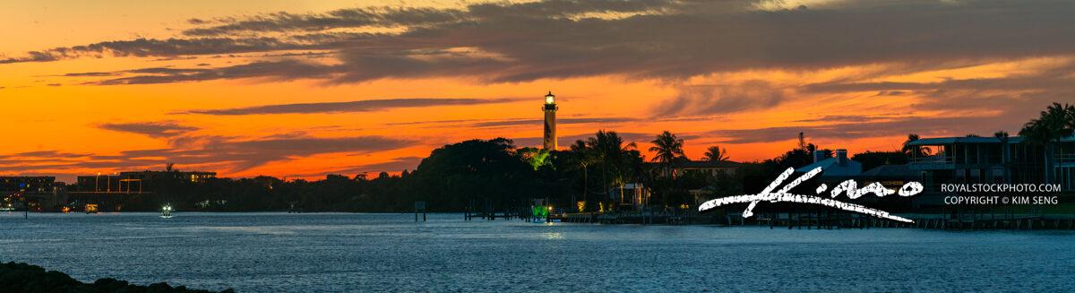 Jupiter Inlet Lighthouse Waterway Sunset Panorama