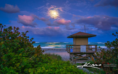 Jupiter Inlet Fullmoon Rise at Guard Tower